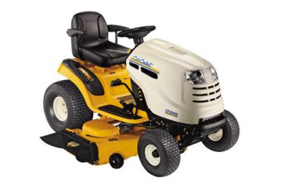 yellow riding lawn mower