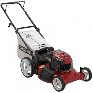 red lawn mower with bag