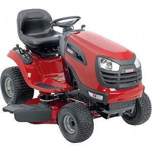 riding red lawn mower